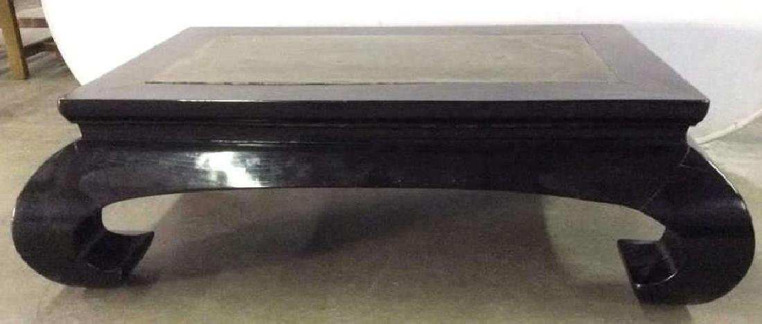 Scroll Leg Chinese Lacquer Coffee Table w Stone