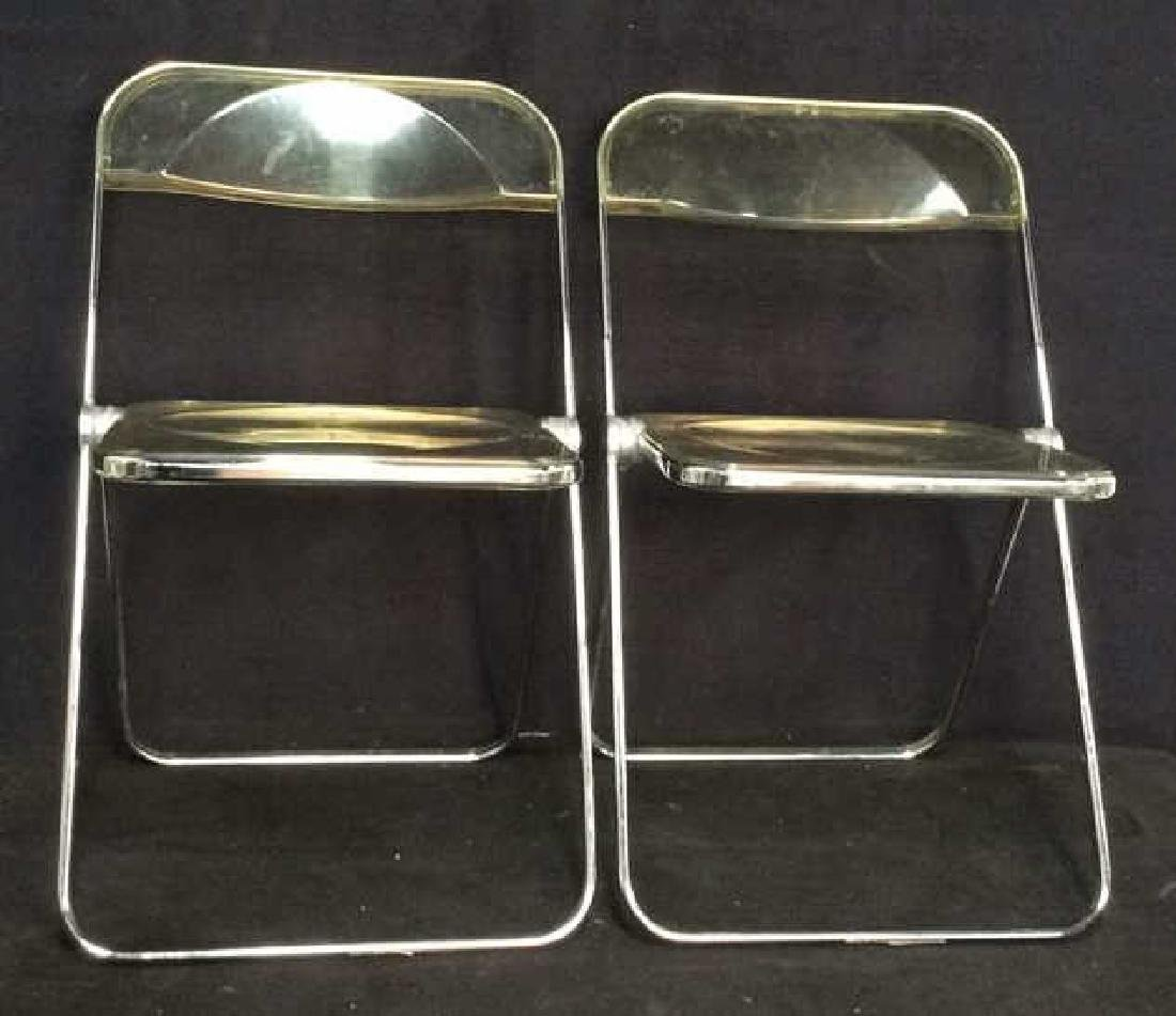 Pair Italian Midcentury Folding Lucite Chairs