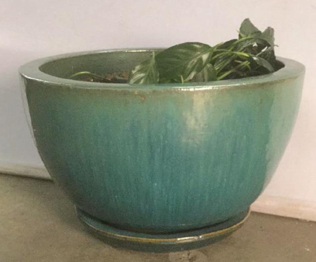 Turquoise Circular Pottery Planter