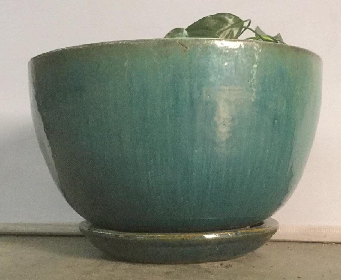 Turquoise Circular Pottery Planter - 2