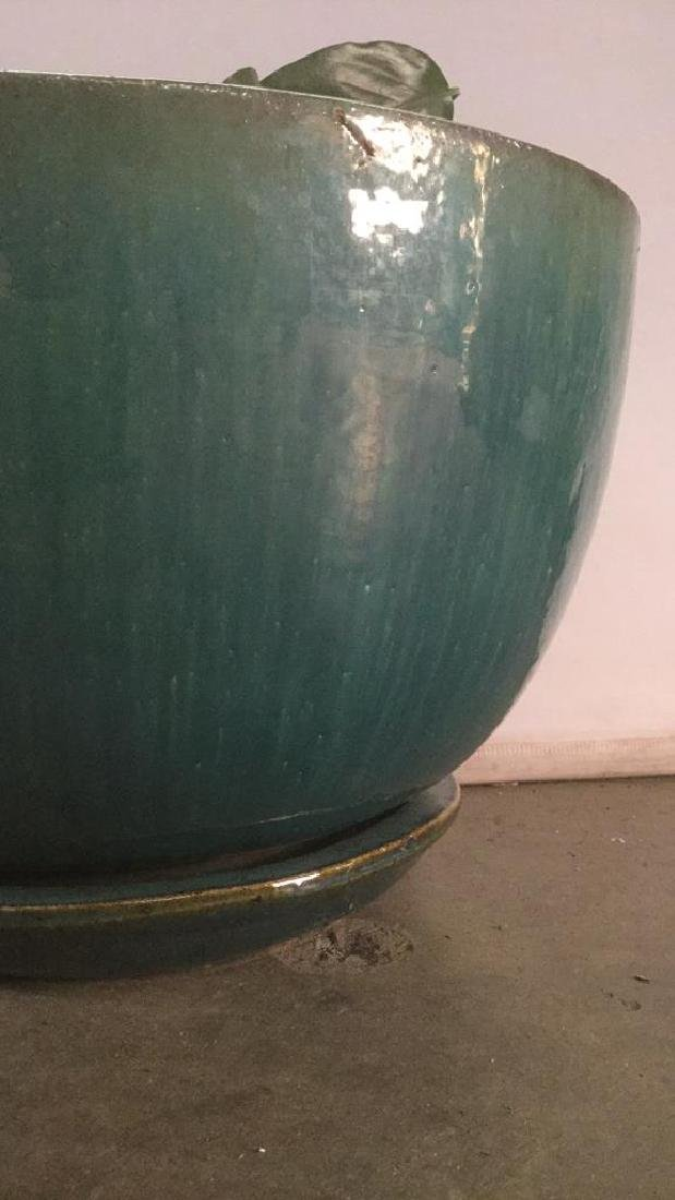Turquoise Circular Pottery Planter - 4