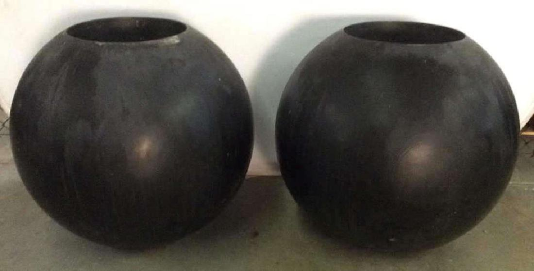 DESIGN WITHIN REACH Black Toned Orb Planters