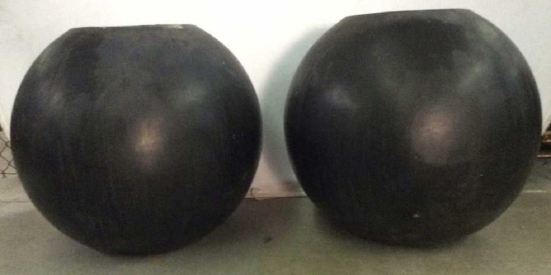 DESIGN WITHIN REACH Black Toned Orb Planters - 2