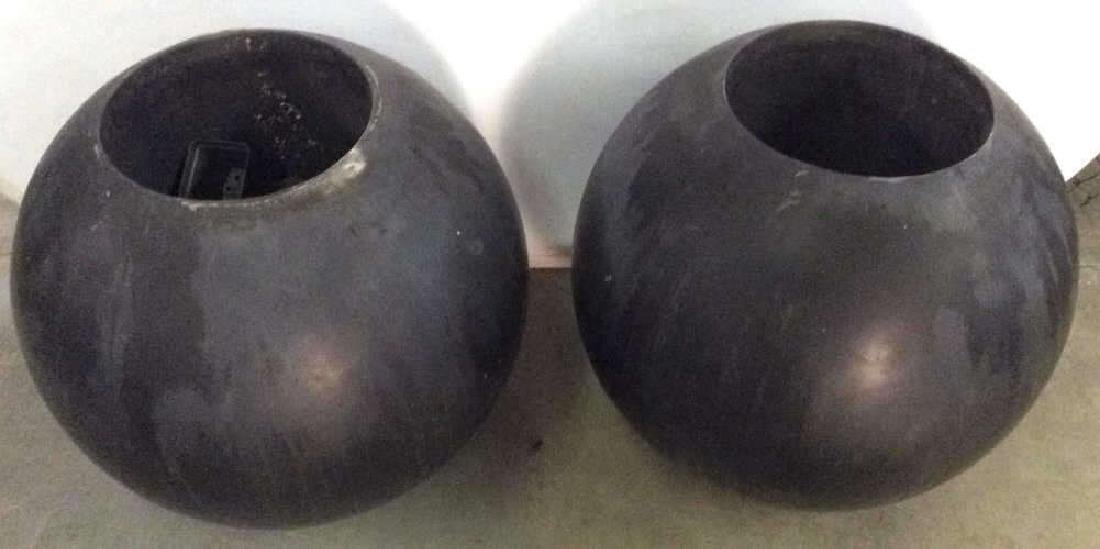 DESIGN WITHIN REACH Black Toned Orb Planters - 3