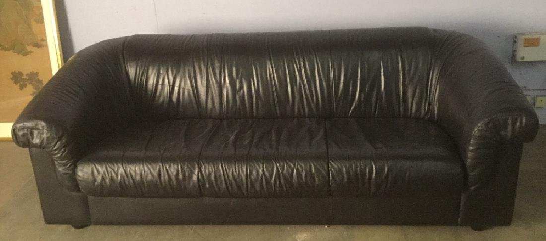 Black Leather Sofa Couch Heavy Frame