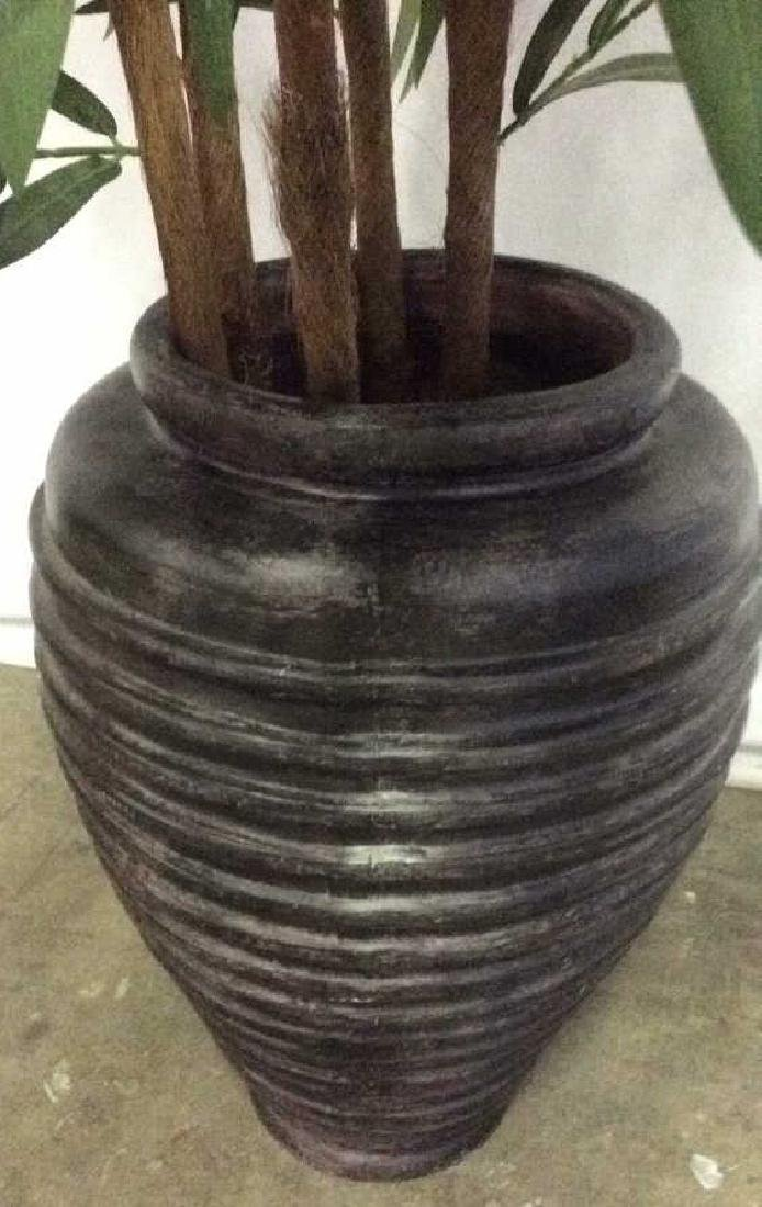 Brown Toned Planter W Faux Bamboo Silk Plant - 3
