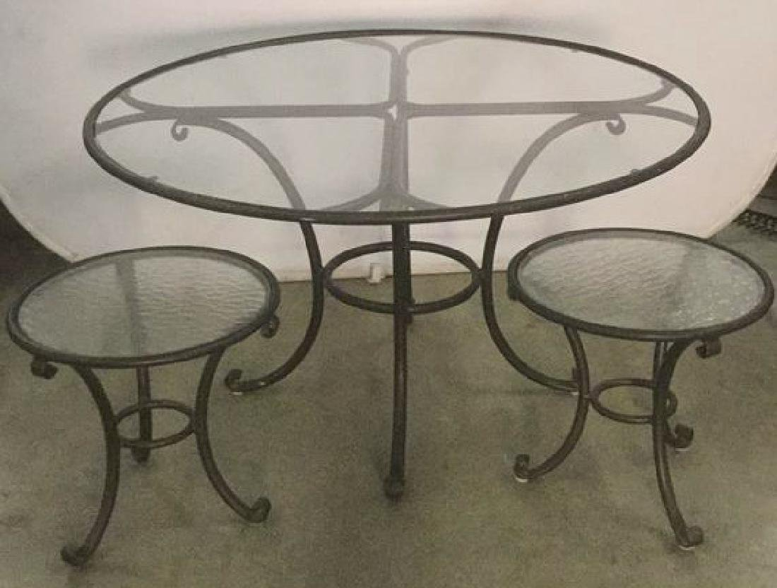 Lot 3 Black Metal Outdoor Tables With Glass Tops