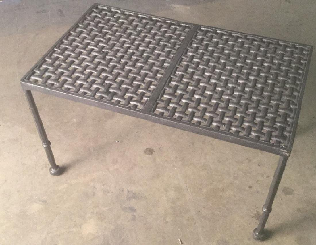 Metal Garden Bench Table With Woven Effect Seat