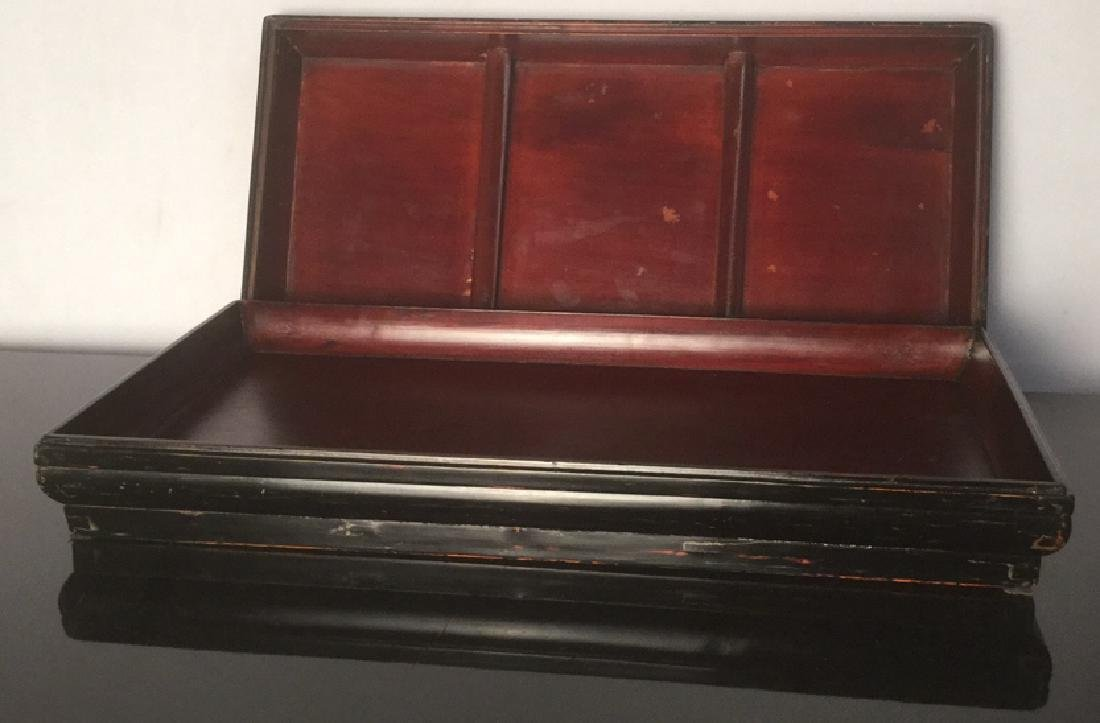 Antique Oriental Black Lacquer Document Box