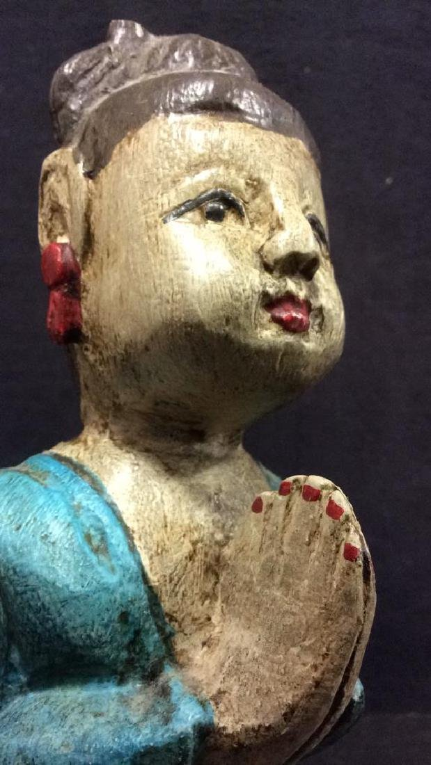 Asian Style Carved Wooden Female Figure - 5