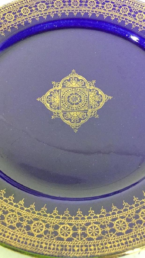 Set 13 Vintage Cobalt Gilt Tone Plates+More France - 10