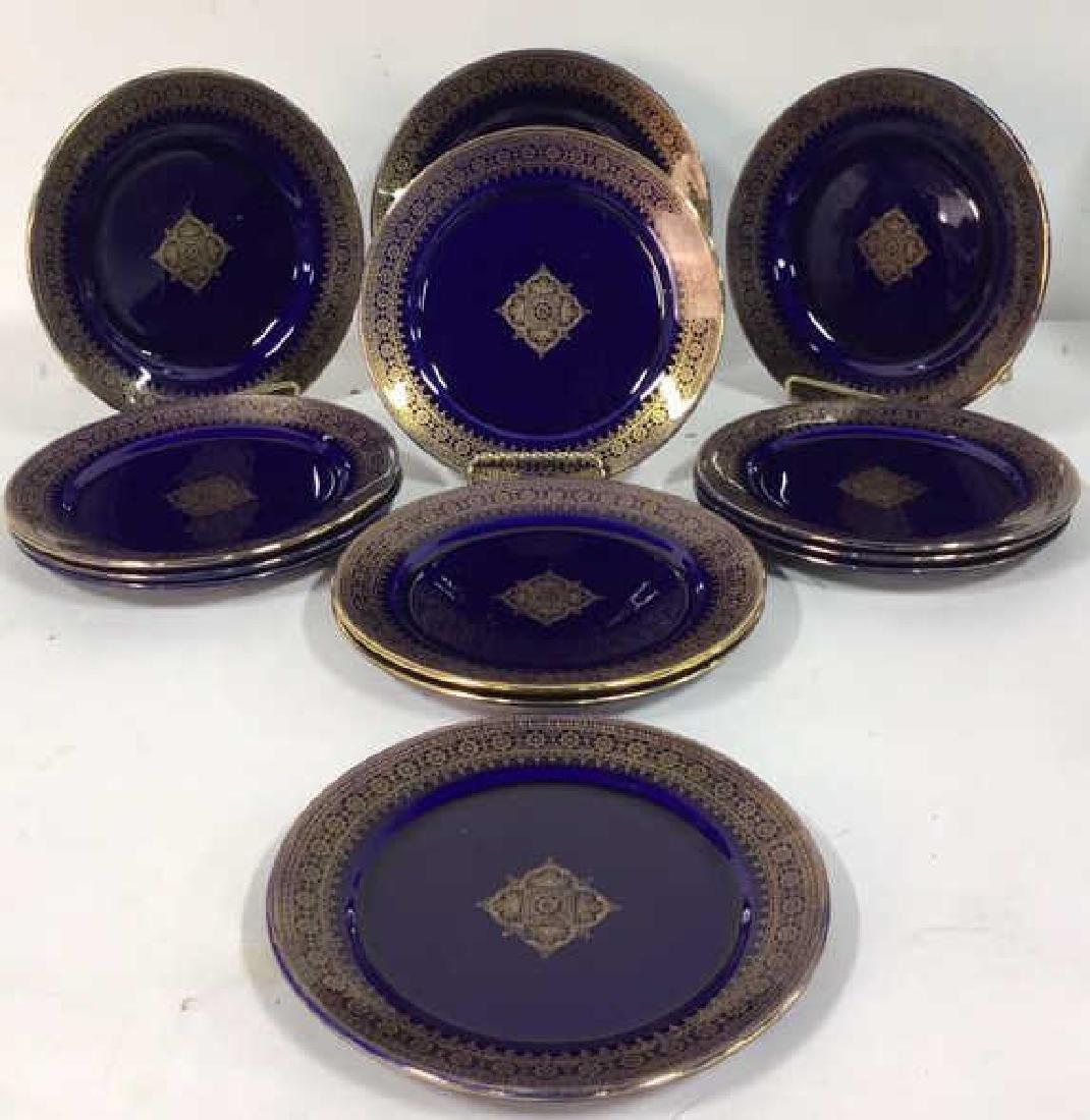 Set 13 Vintage Cobalt Gilt Tone Plates+More France