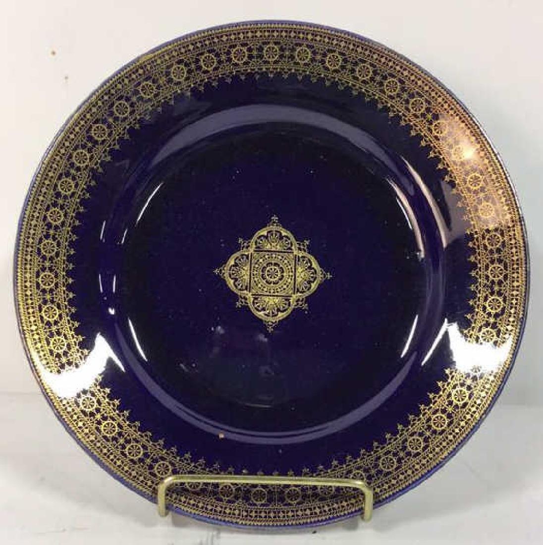 Set 13 Vintage Cobalt Gilt Tone Plates+More France - 2