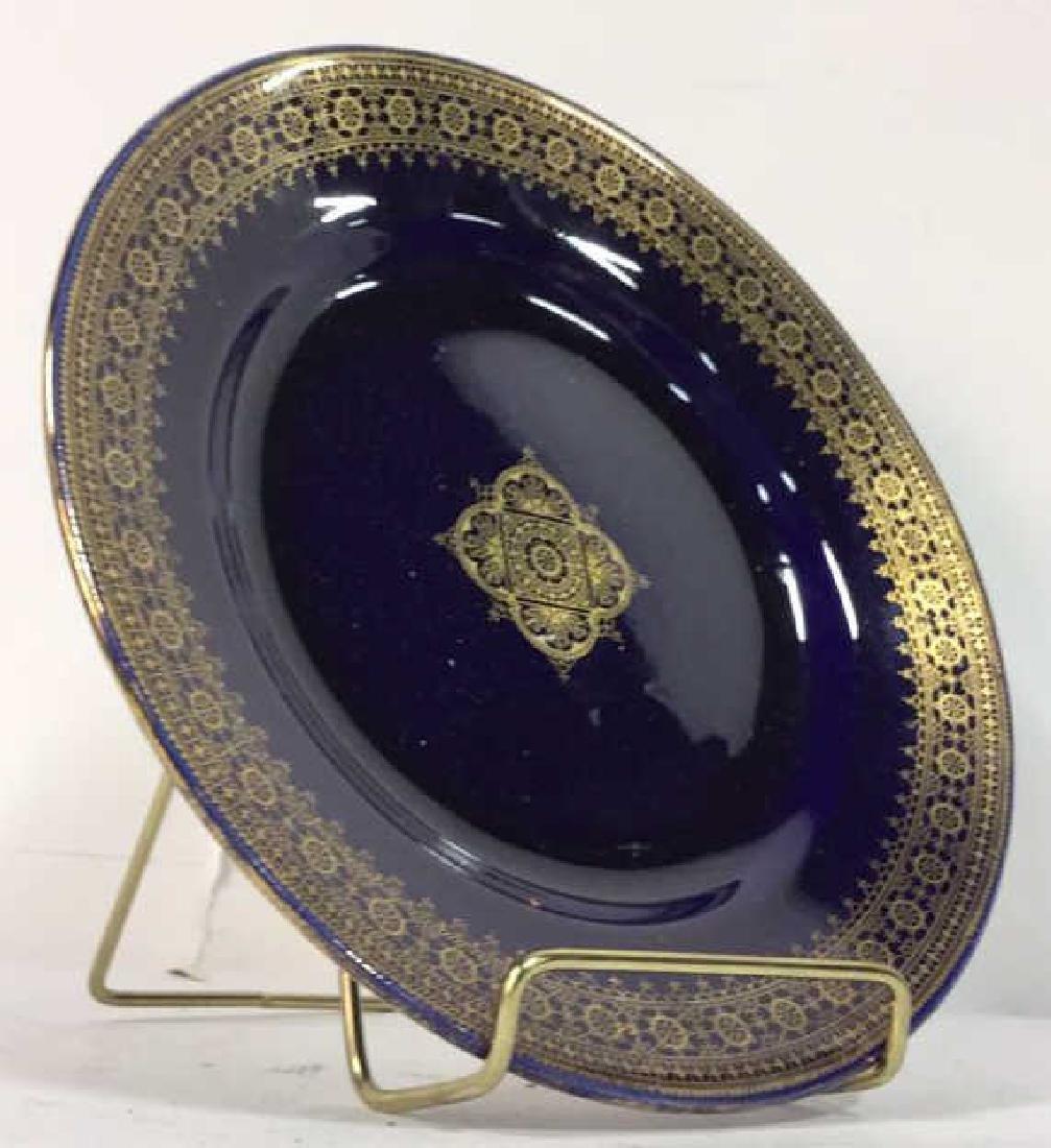 Set 13 Vintage Cobalt Gilt Tone Plates+More France - 3