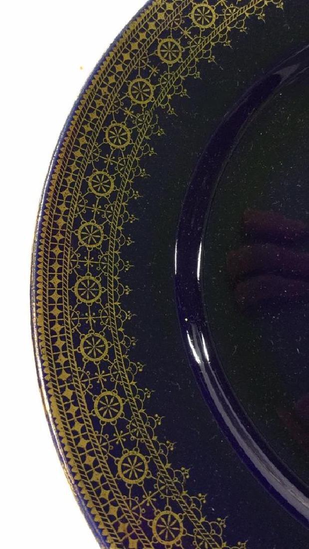 Set 13 Vintage Cobalt Gilt Tone Plates+More France - 5