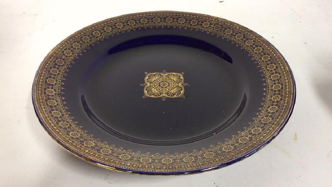 Set 13 Vintage Cobalt Gilt Tone Plates+More France - 6