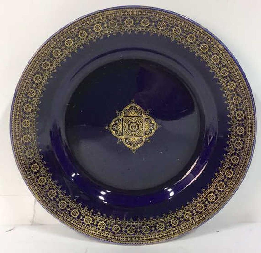 Set 13 Vintage Cobalt Gilt Tone Plates+More France - 8