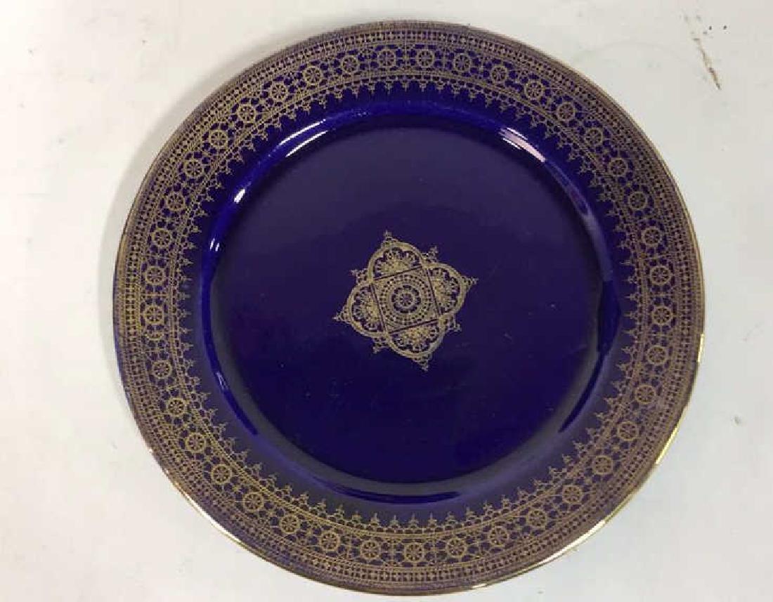 Set 13 Vintage Cobalt Gilt Tone Plates+More France - 9
