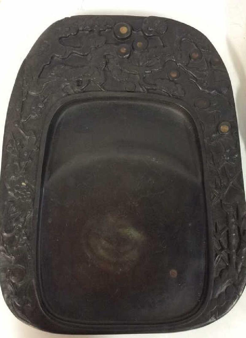 Antique Chinese Calligraphy Ink Stone C1890's W Br - 6