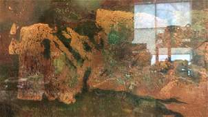 Framed Abstract Mixed Media Art On Board