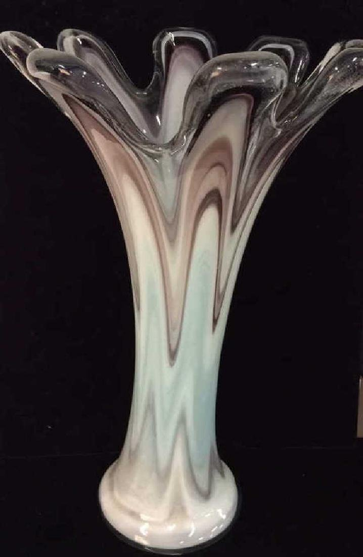 Muti Color Drip Form Art Glass Vase