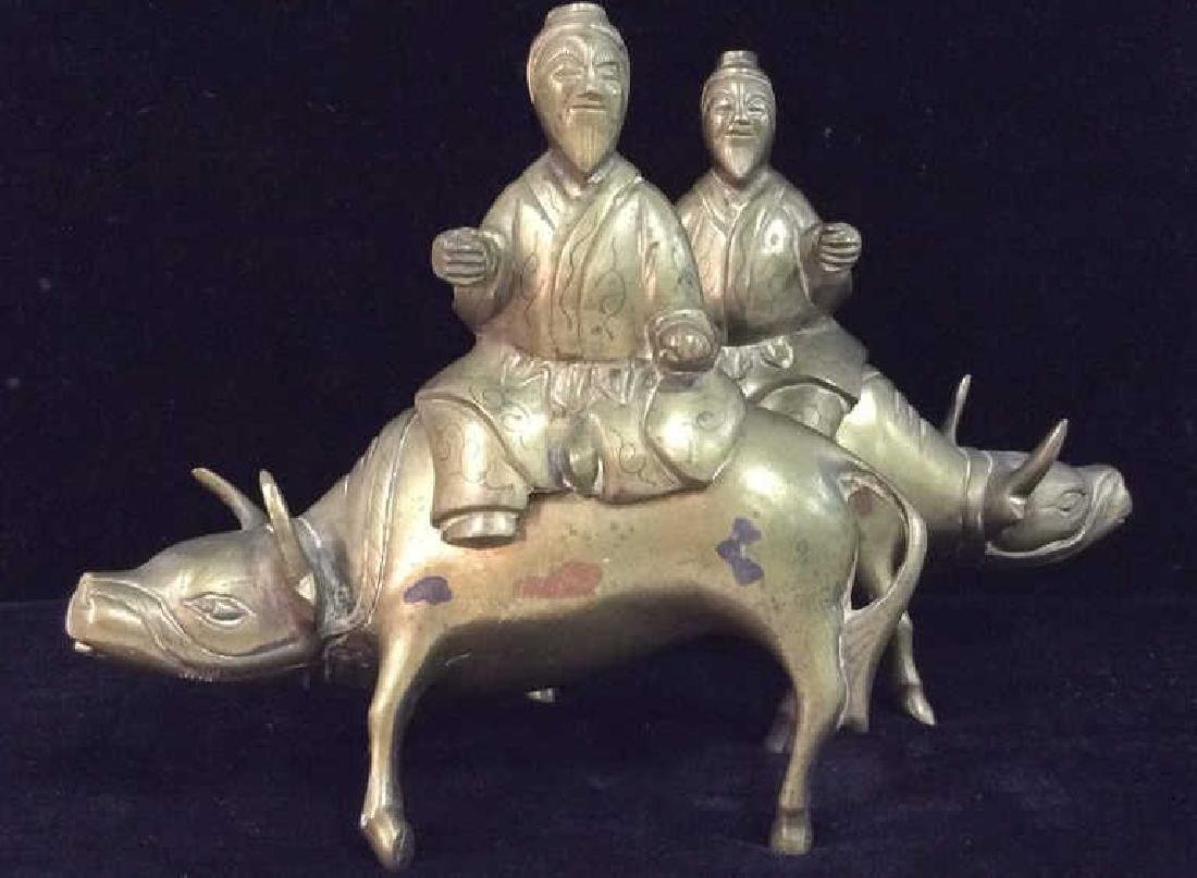 Brass Toned Metal Statuettes Men W Oxen