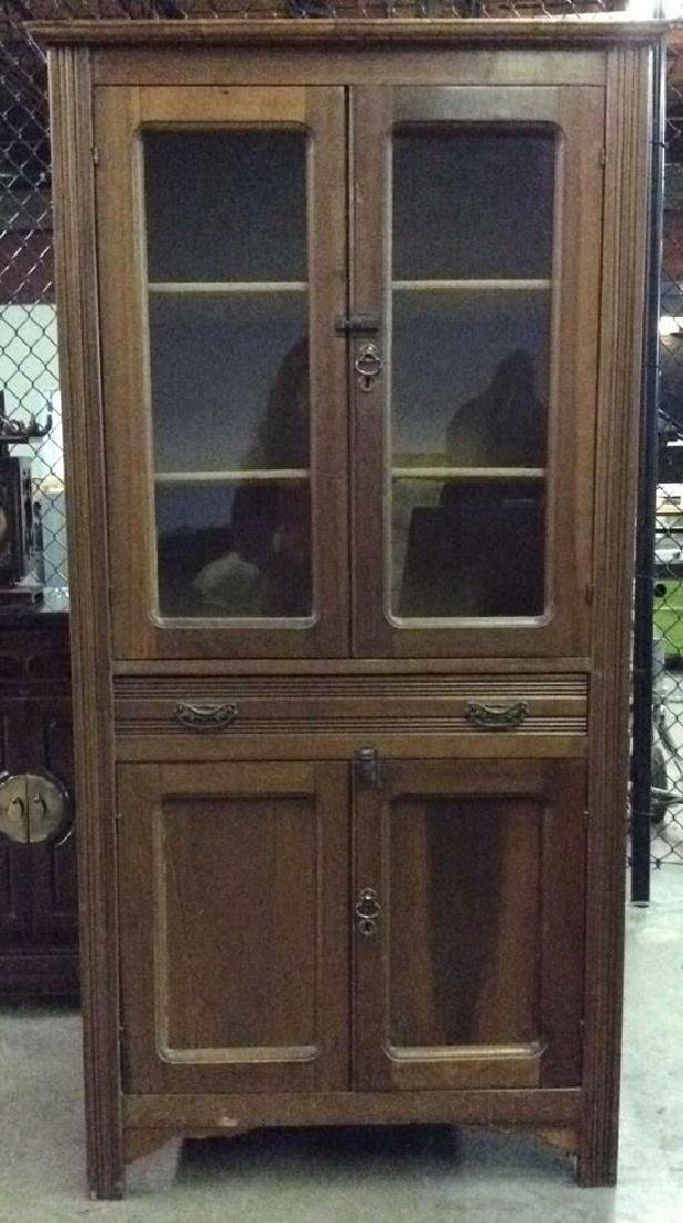 Glass Paned Wood Display Cabinet W Shelves Drawers