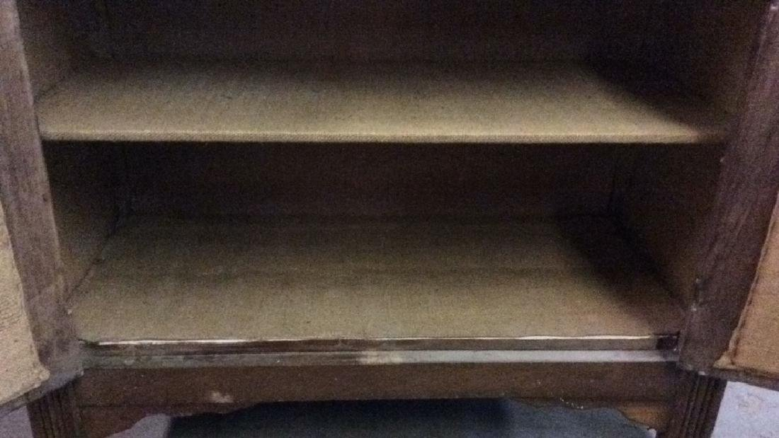 Glass Paned Wood Display Cabinet W Shelves Drawers - 8