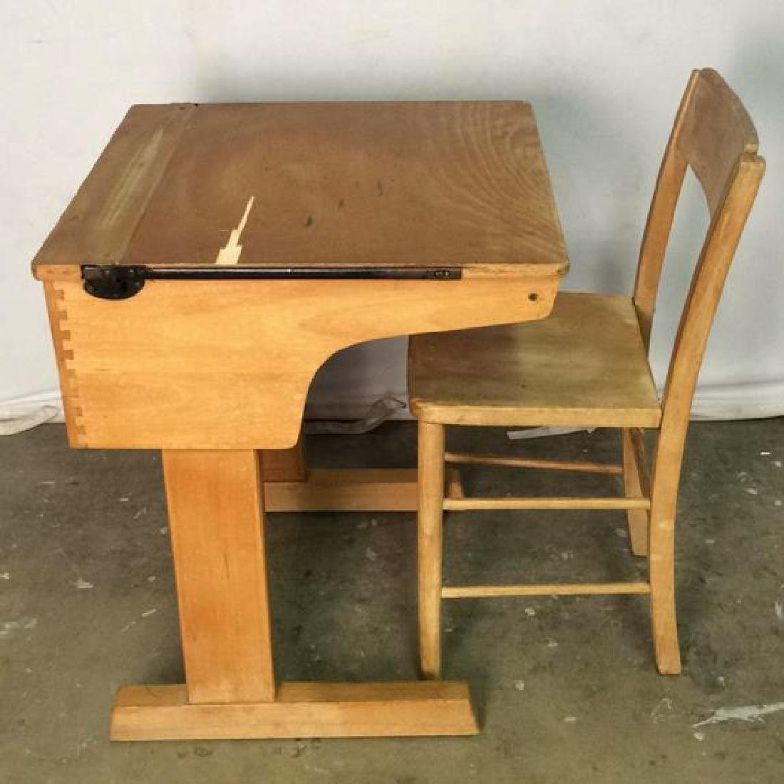 Vintage Children's Schoolhouse Desk W Chair