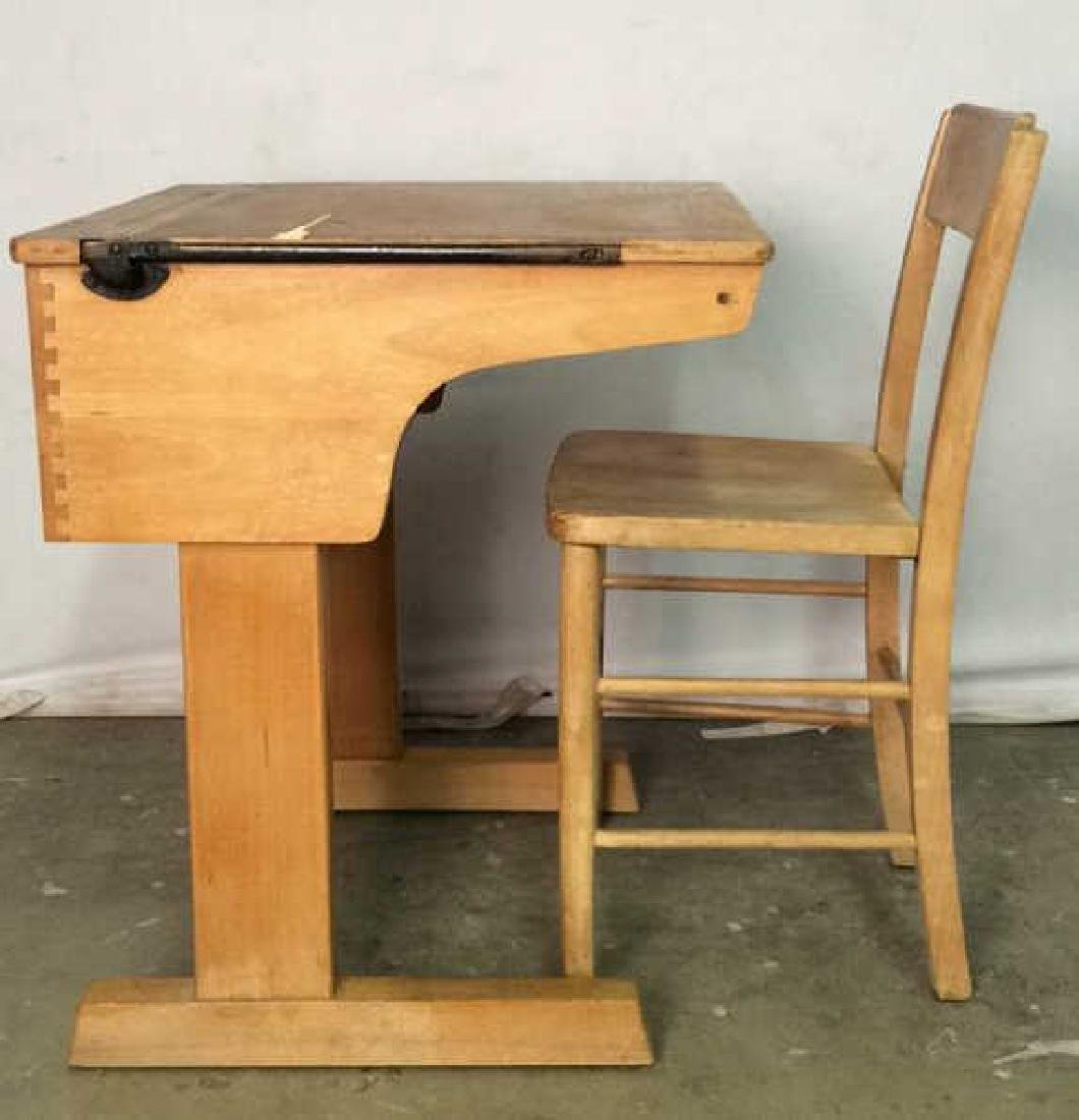 Vintage Children's Schoolhouse Desk W Chair - 2