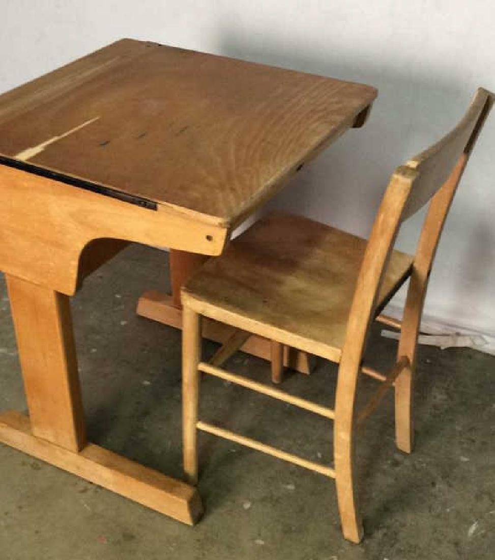 Vintage Children's Schoolhouse Desk W Chair - 5