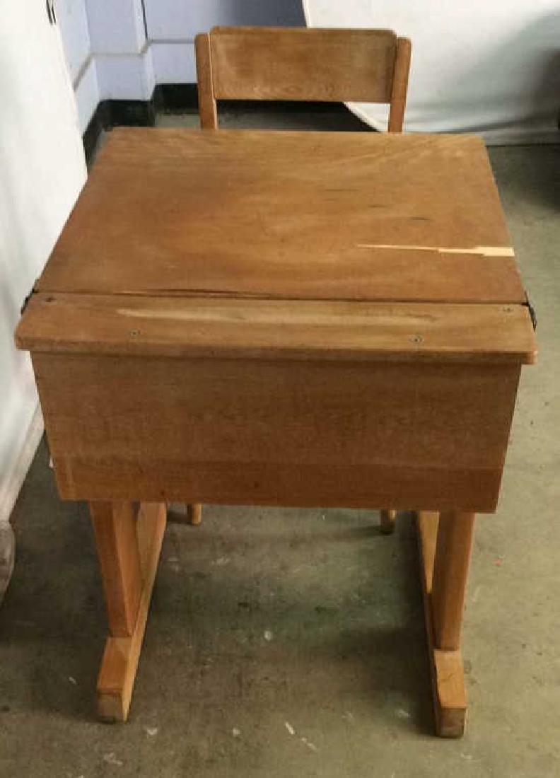 Vintage Children's Schoolhouse Desk W Chair - 6