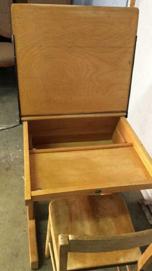 Vintage Children's Schoolhouse Desk W Chair - 7