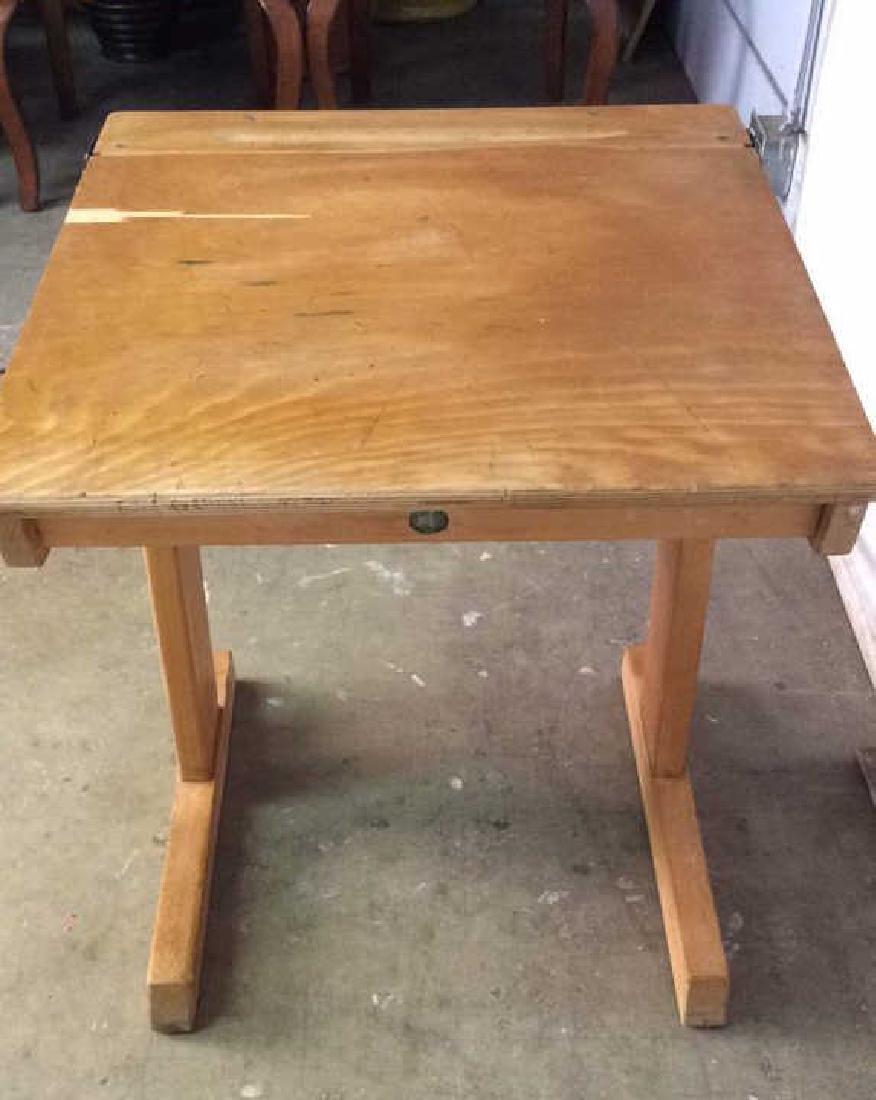 Vintage Children's Schoolhouse Desk W Chair - 8