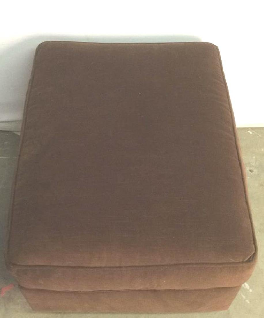 Chocolate Toned Fabric Upholstered Ottoman - 10