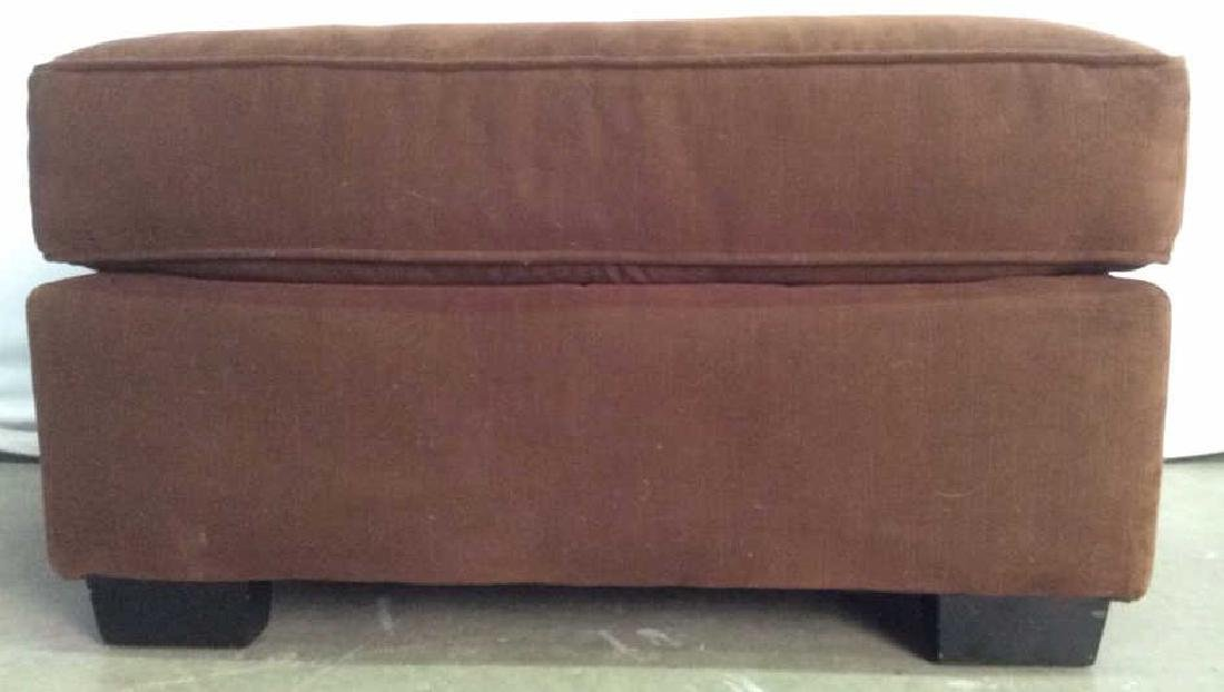Chocolate Toned Fabric Upholstered Ottoman - 2