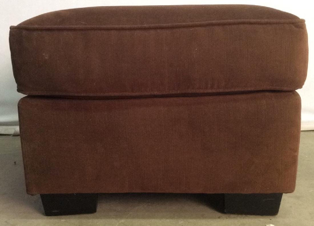 Chocolate Toned Fabric Upholstered Ottoman - 4