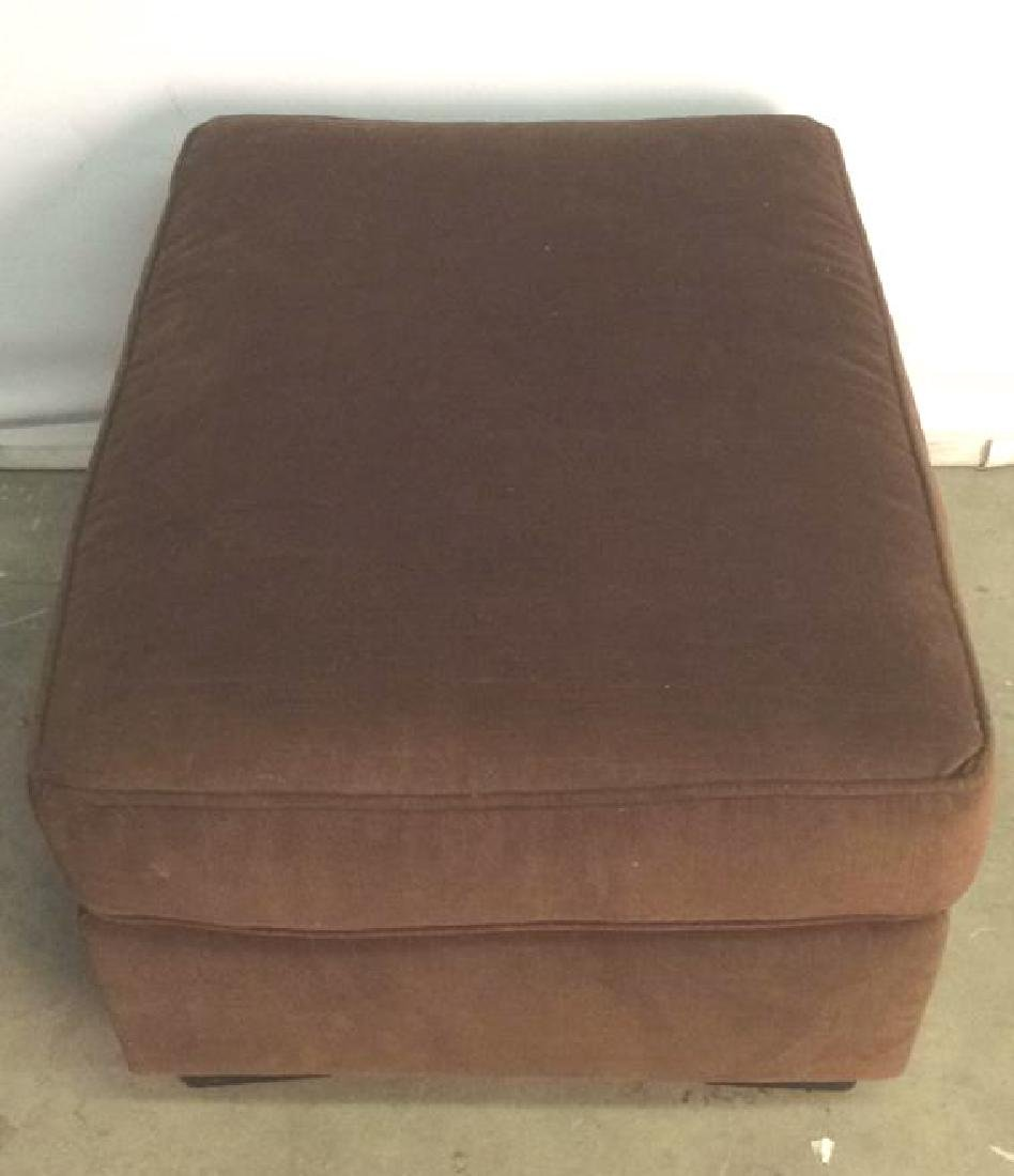 Chocolate Toned Fabric Upholstered Ottoman - 5