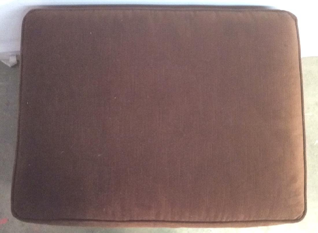 Chocolate Toned Fabric Upholstered Ottoman - 6