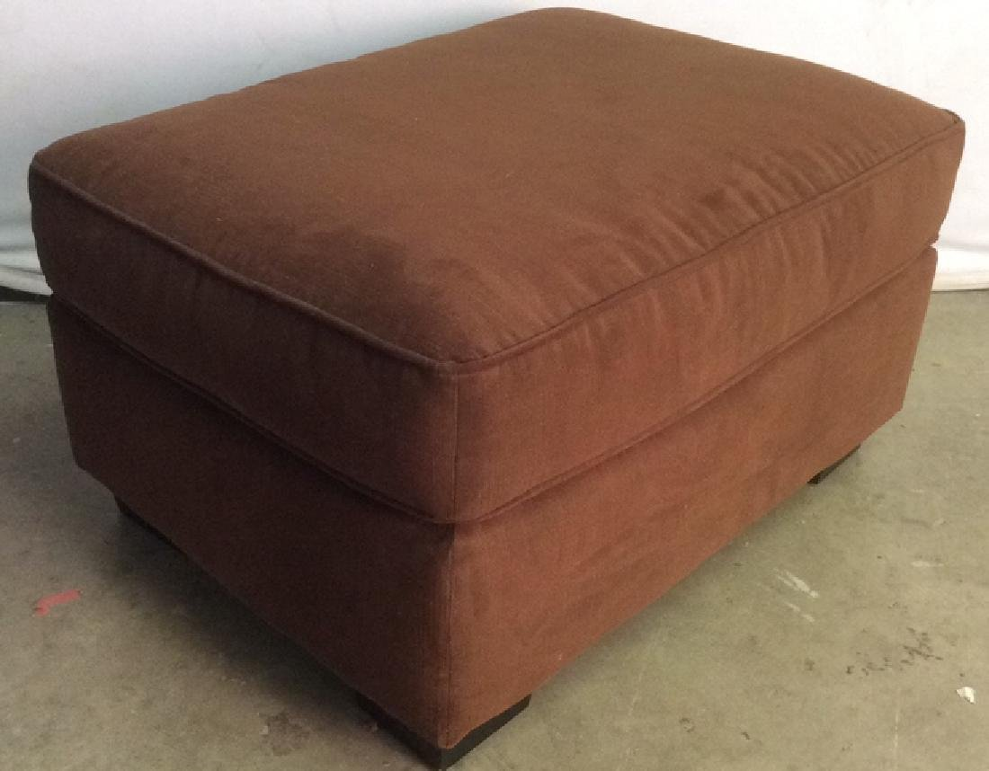 Chocolate Toned Fabric Upholstered Ottoman - 8