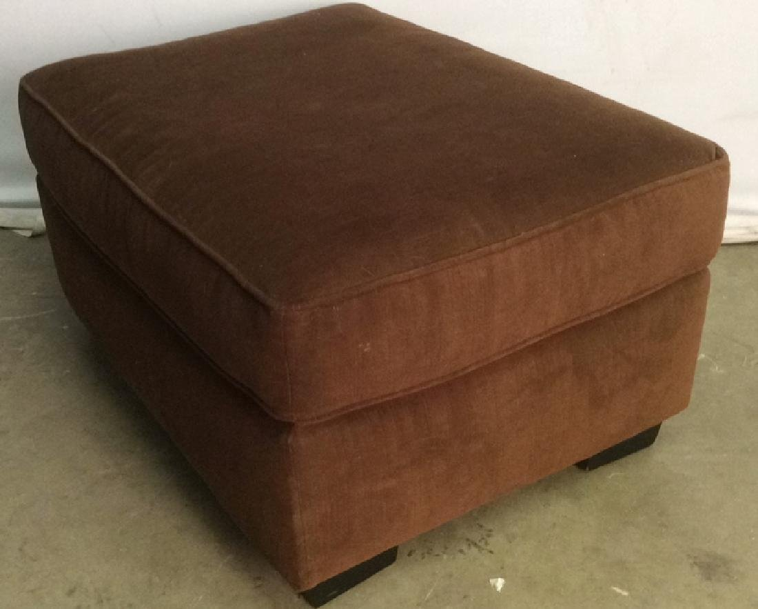 Chocolate Toned Fabric Upholstered Ottoman - 9