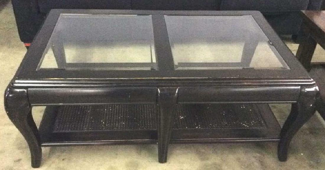 Black Toned Painted Wood W Glass Coffee Table