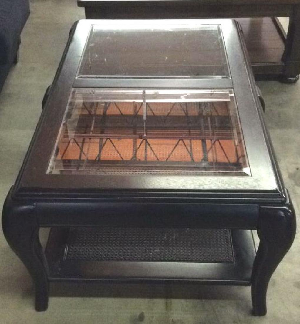 Black Toned Painted Wood W Glass Coffee Table - 3