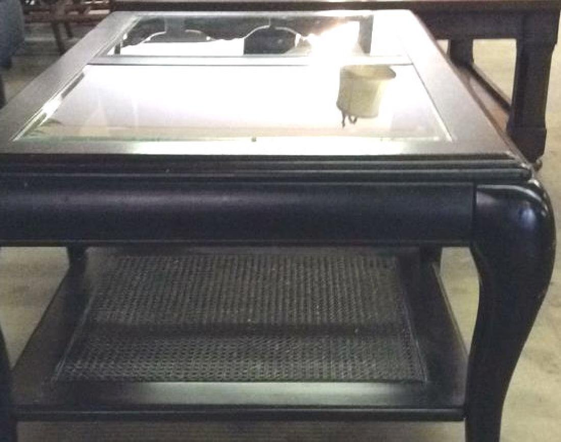 Black Toned Painted Wood W Glass Coffee Table - 4