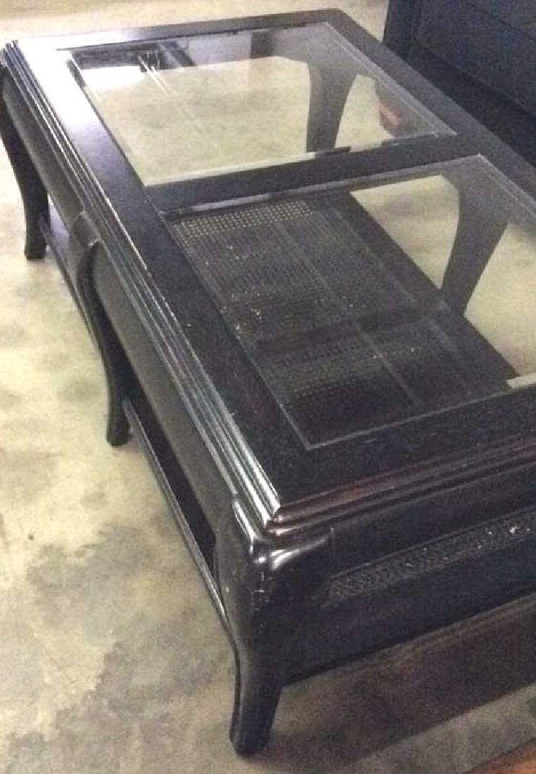 Black Toned Painted Wood W Glass Coffee Table - 8