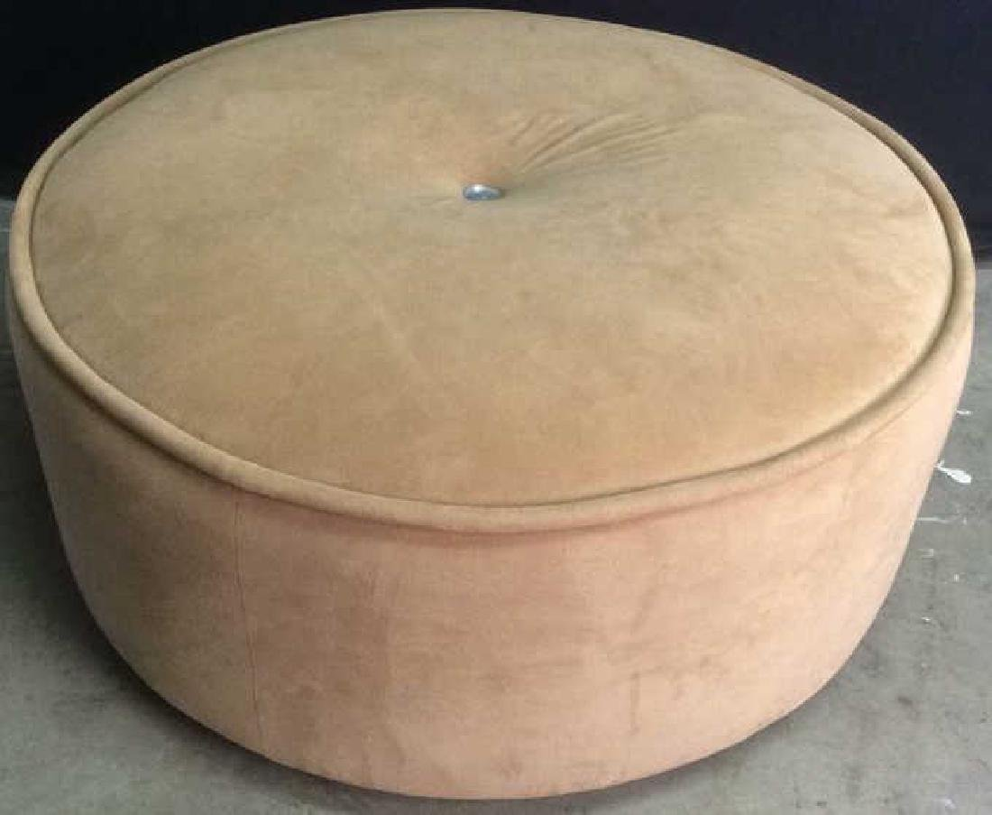 BLOOMINGDALES Round Beige Toned Ottoman