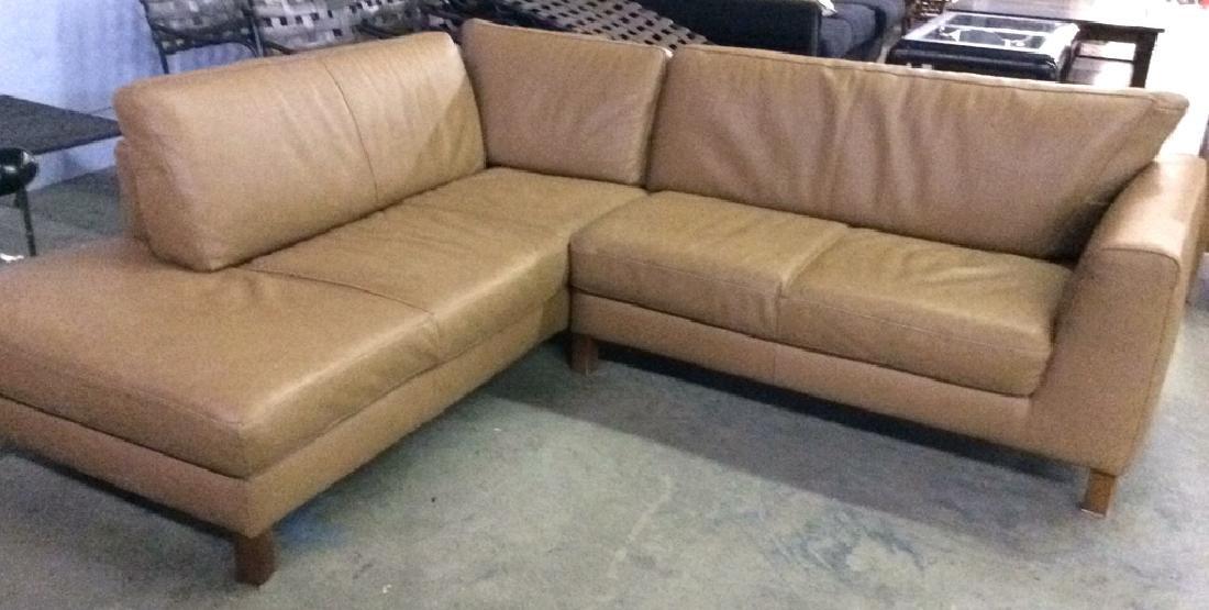 BLOOMINGDALES Tan Leather Sofa Sectional