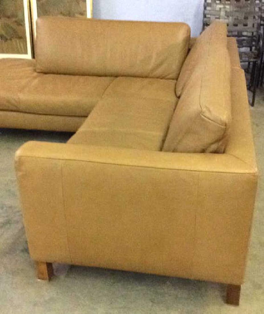 BLOOMINGDALES Tan Leather Sofa Sectional - 4