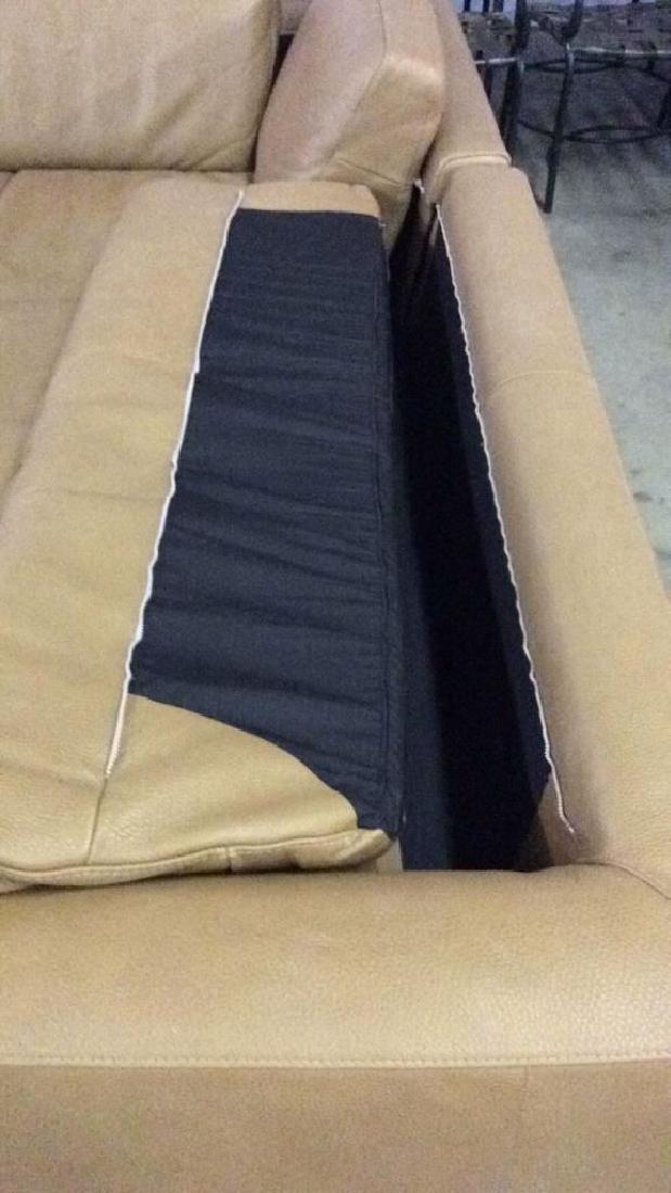 BLOOMINGDALES Tan Leather Sofa Sectional - 6