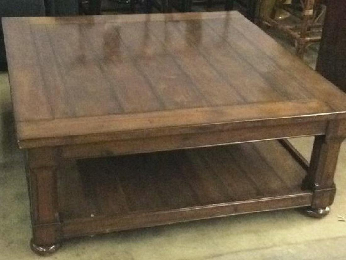 Planked Pine Wood 2 Tiered Coffee Table